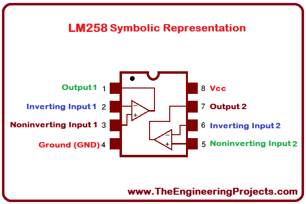 LM258 Pinout, LM258 basics, basics of LM258, getting started with LM258, how to get start LM258, LM258 proteus, Proteus LM258, LM258 Proteus simulation