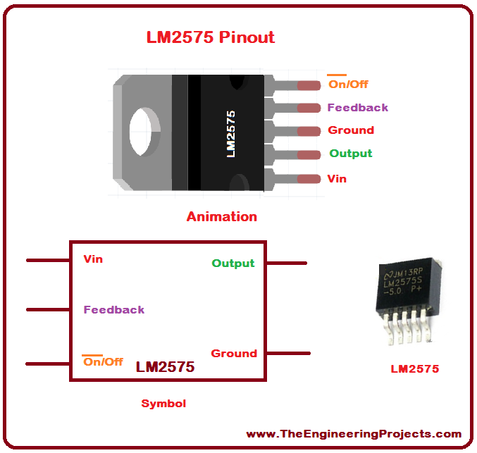 LM2575 Pinout, LM2575 basics, basics of LM2575, getting started with LM2575, how to get start LM2575, LM2575 proteus, Proteus LM2575, LM2575 Proteus simulation