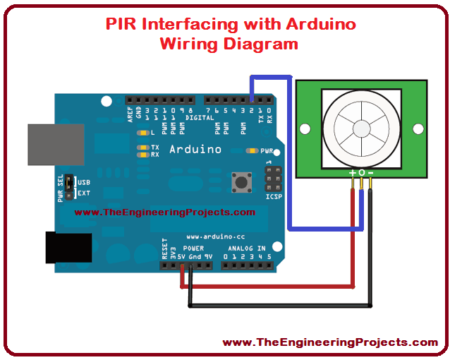 pir sensor arduino interfacing the engineering projects rh theengineeringprojects com pir motion sensor wiring diagram lap pir sensor wiring diagram