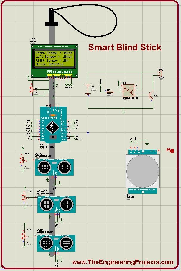 Smart Blind Stick, smart blind stick arduino, blind stick arduino, arduino blind stick