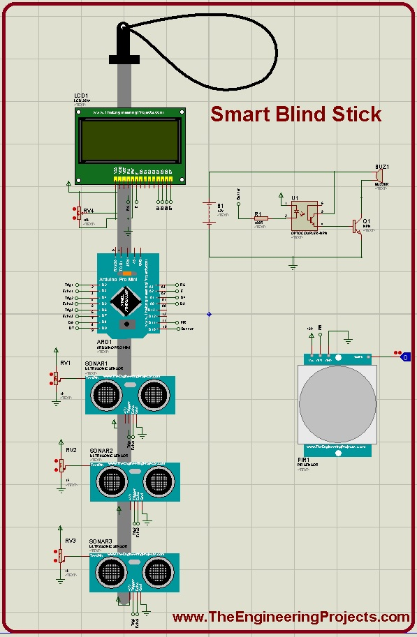 Smart blind stick using arduino in proteus the