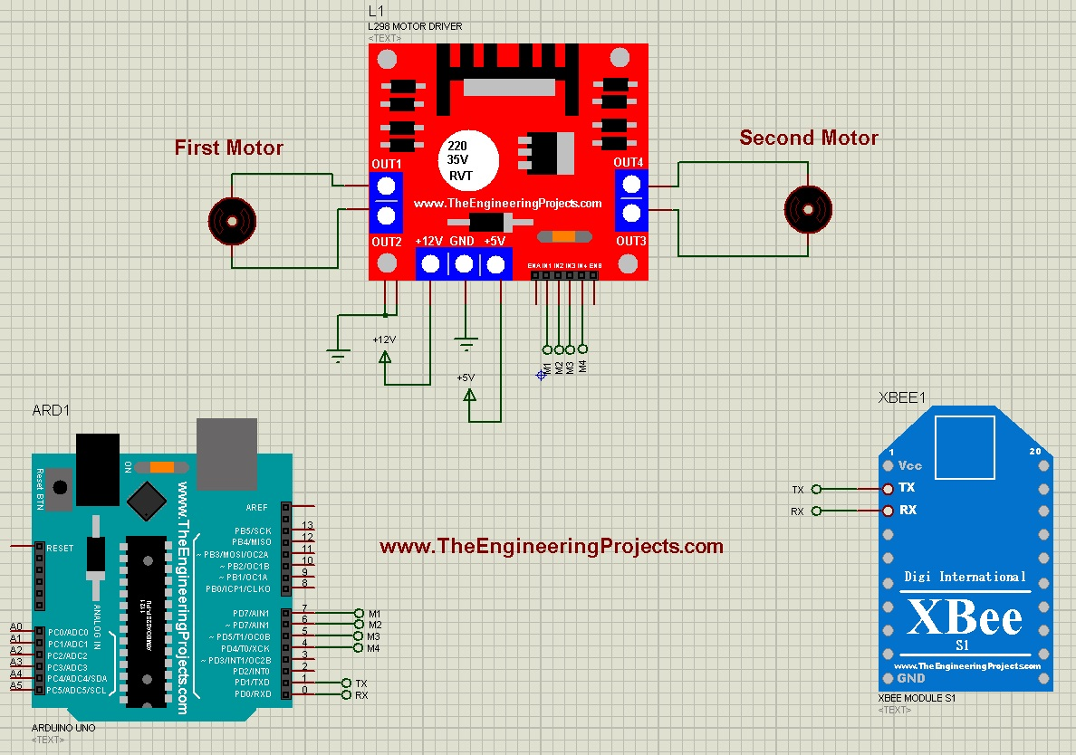 DC Motor Control using XBee & Arduino in Proteus - The Engineering