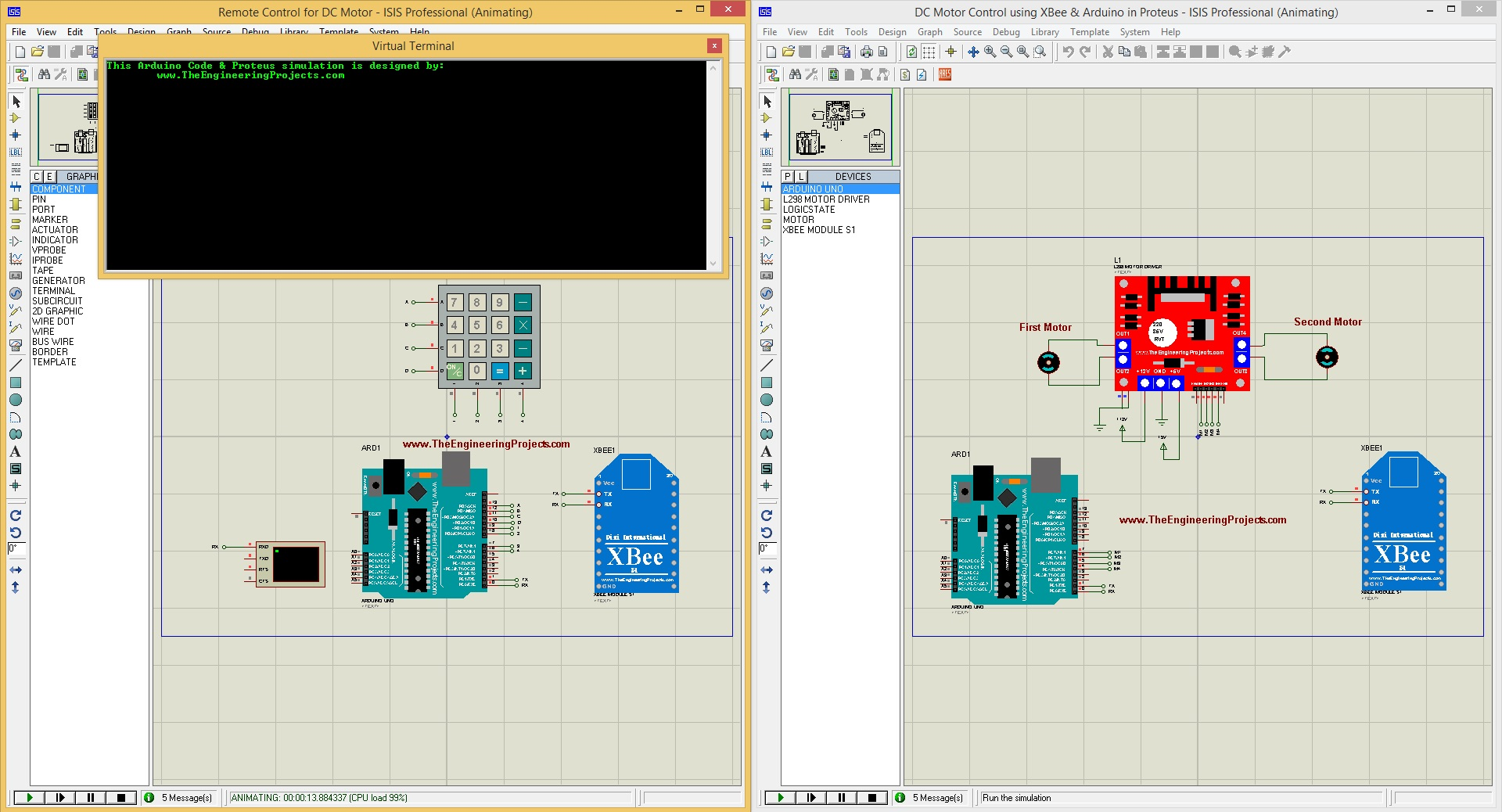 dc motor control, dc motor control using xbee, dc motor in proteus, proteus simulation of dc motor
