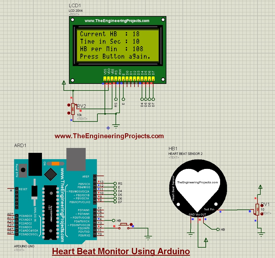 Heart Beat Monitor using Arduino, Heart Beat Monitor using Arduino in proteus, heart beat monitor, heart beat counter, hb monitor,hb counter