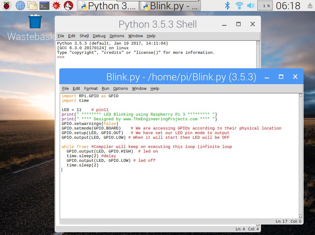 LED Blinking using Raspberry Pi 3, led with pi 3, pi led blinking, led blinking in pi 3, led blinking pi,led pi, pi led, led in pi 3