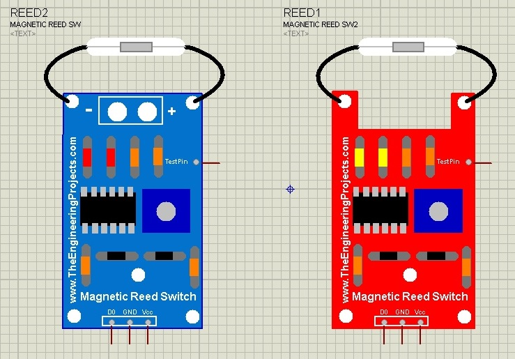 Magnetic Reed Switch Library for Proteus, magnetic reed switch in proteus, proteus simulation of reed switch, magnetic reed switch proteus, proteus reed switch, magnetic switch in proteus