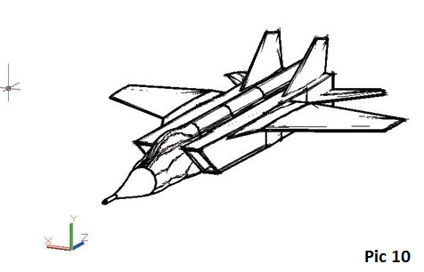 How to create a jet fighter model in AutoCAD, tips for creating jet fighter model