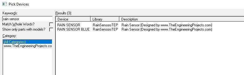 Rain Sensor Library for Proteus, rain sensor in proteus, rain sensor proteus, rain sensor simulation in proteus, rain sensor proteus