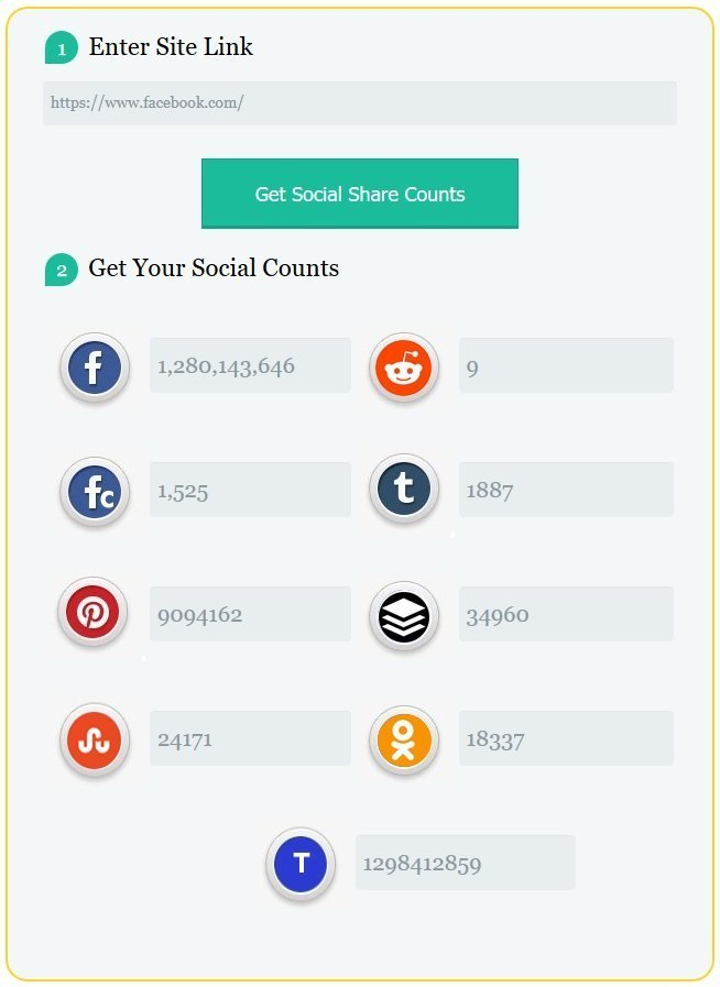 social share counts by tep, social share counter, social media counter, online tool to count social media shares