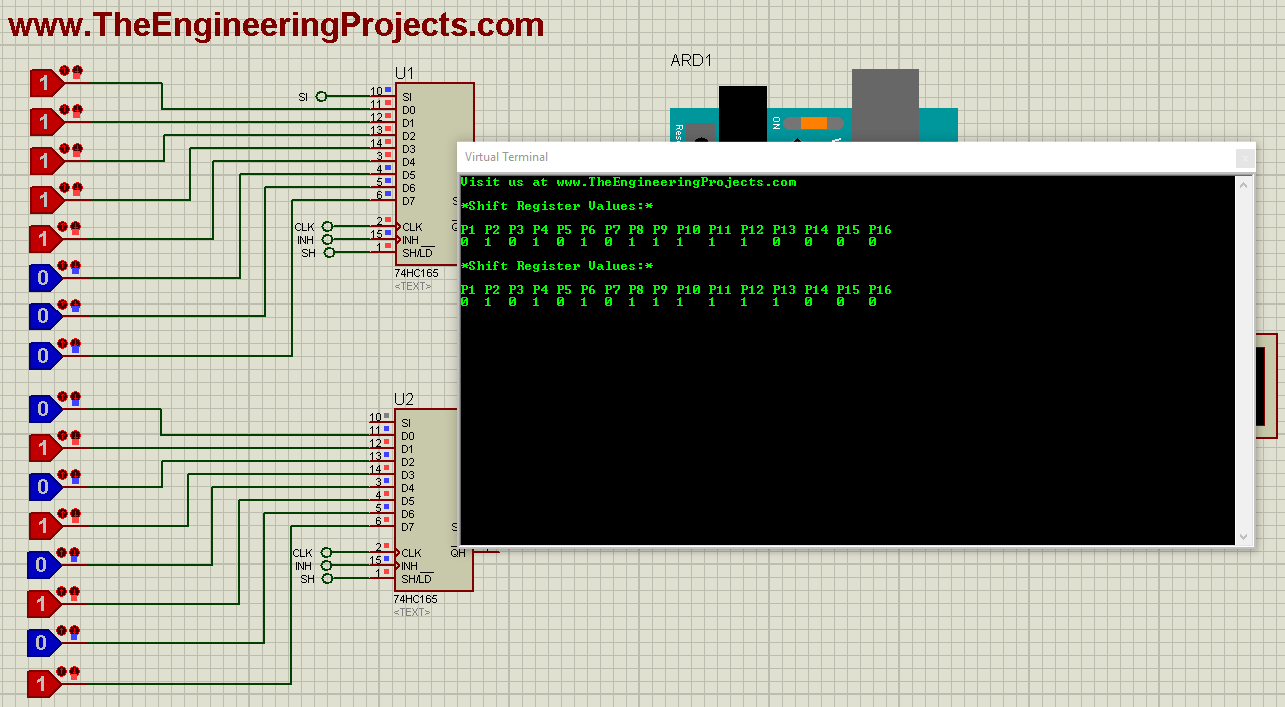 Arduino 74HC165, Arduino 74HC165 interfacing, 74hc165 arduino, increase input pins arduino, arduino input pins