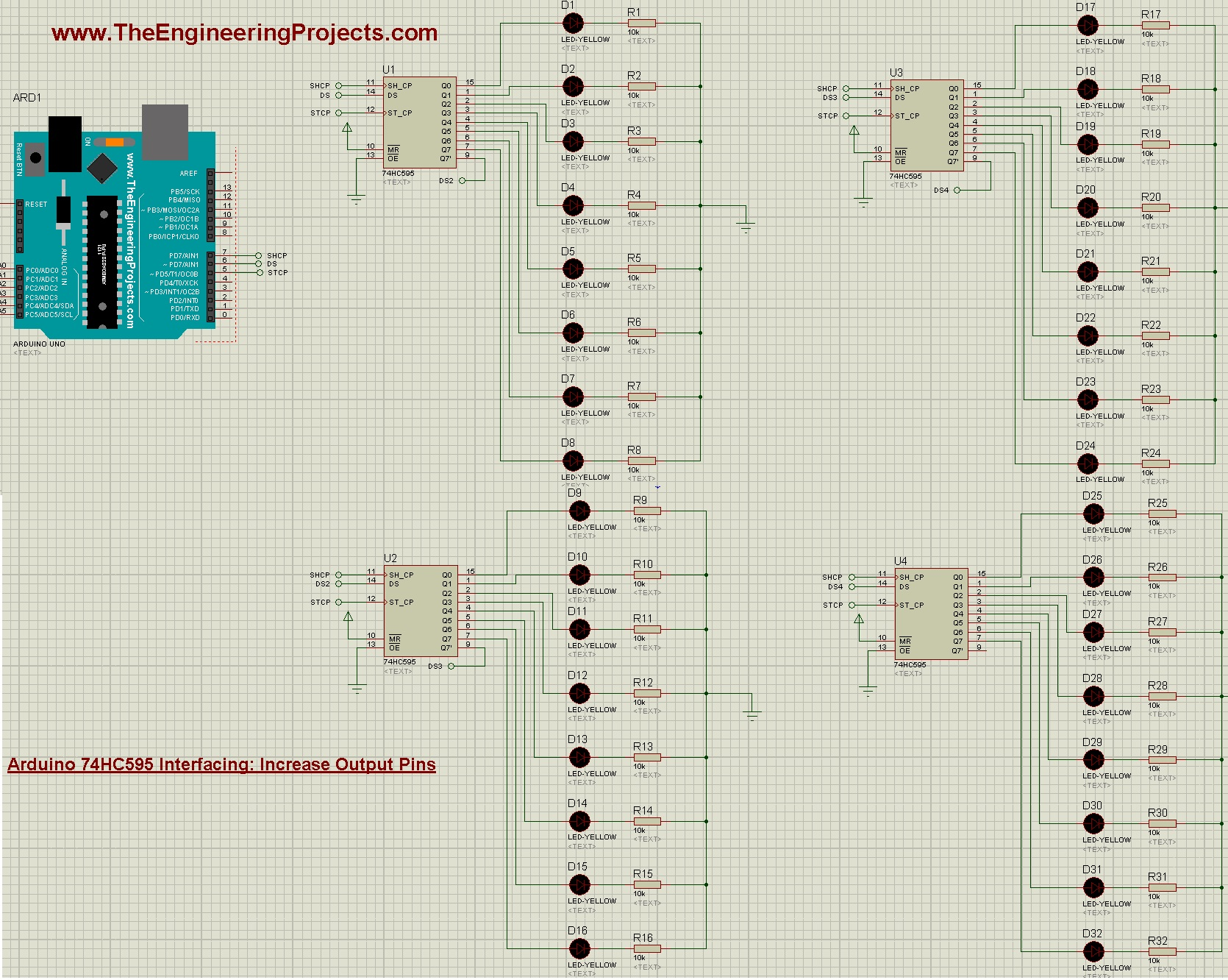 Arduino 74HC595,Arduino 74HC595 interfacing, increase arduino output pins, arduino output increase, 74hc595 arduino