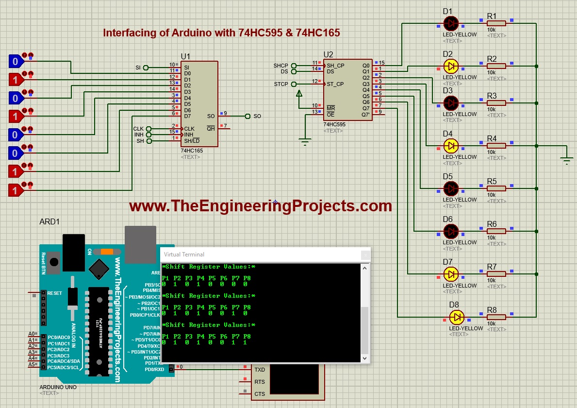 Interfacing of Arduino with 74HC595 & 74HC165, increase input output pins of arduino, input output arduino, arduino 74hc595 74hc165