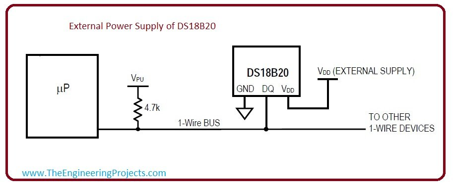External power supply of ds18b20, power supply of ds18b20. pinout of ds18b20
