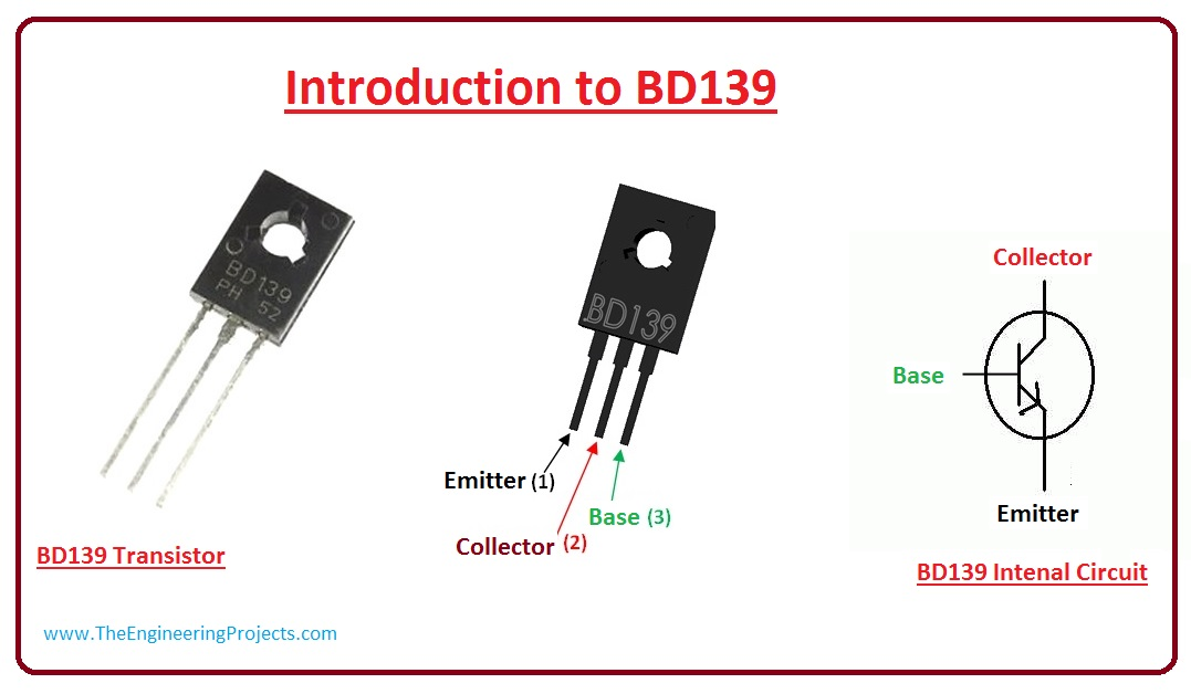 Introduction BD139, BD139 pinout, BD139 applications, BD139 as a switch, BD139 as amplifier, BD139 arduino interfacing,BD139