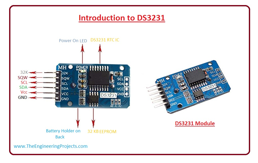 DS3231 Introduction, DS3231 Pinout, DS3231 Features, DS3231 working, DS3231 Applications, DS3231 Arduino interfacing, DS3231