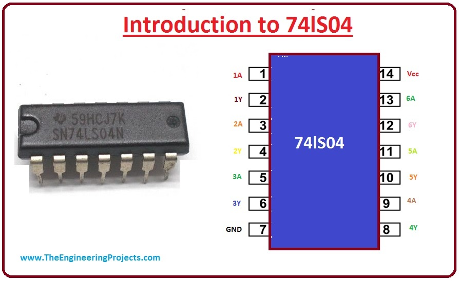 introduction to 74ls04, 74ls04 pinout, 74ls04 working, 74ls04 features, 74ls04 applications, 74ls04