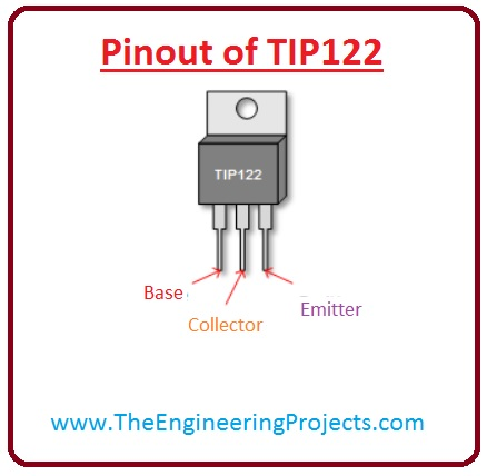 introduction to tip122, tip122 pinout, tip122 working, tip122 features, tip122 applications, tip122