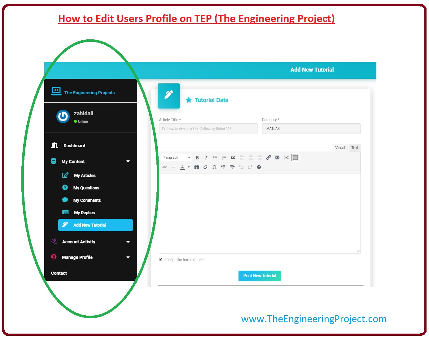 How to Post Tutorial on TEP (The Engineering Project), Rules to Write Article on TEP (The Engineering Project), How to Write Article On TEP (The Engineering Project), How to Send Posts to the TEP (The Engineering Project) Team, How to Edit Users Profile on TEP (The Engineering Project), How to Contact With the TEP (The Engineering Project) Team