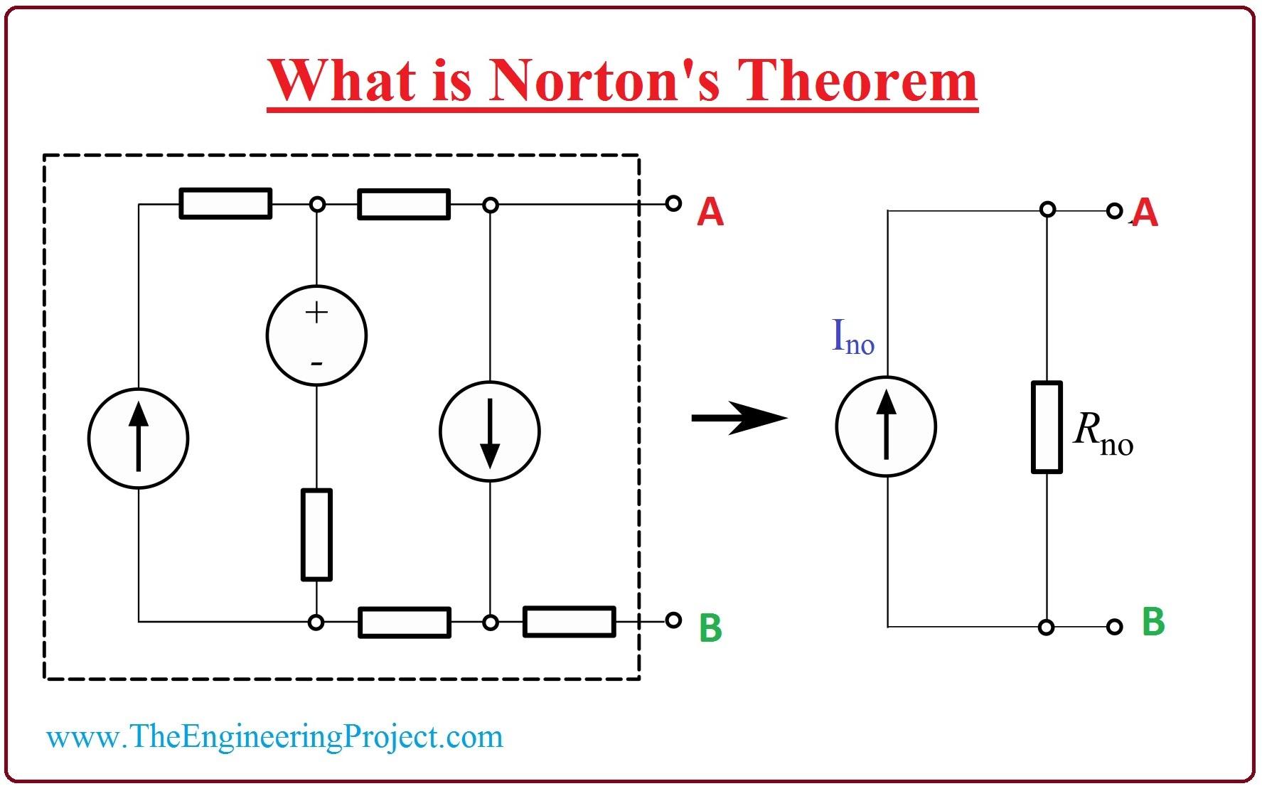 What is Norton's Theorem, Norton's Theorem equation Norton's Theorem limitations, Norton's Theorem applications, Norton's Theorem