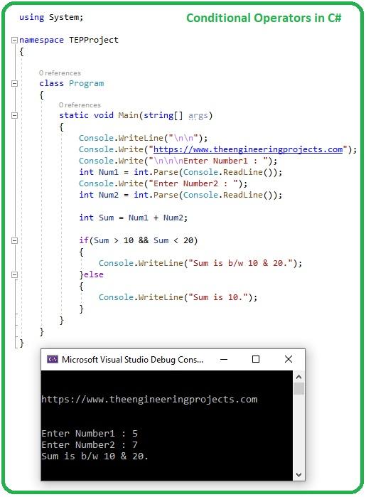 Common Operators in C#, arithmetic operator in c#, comparison operator in c#, conditional operators in c#