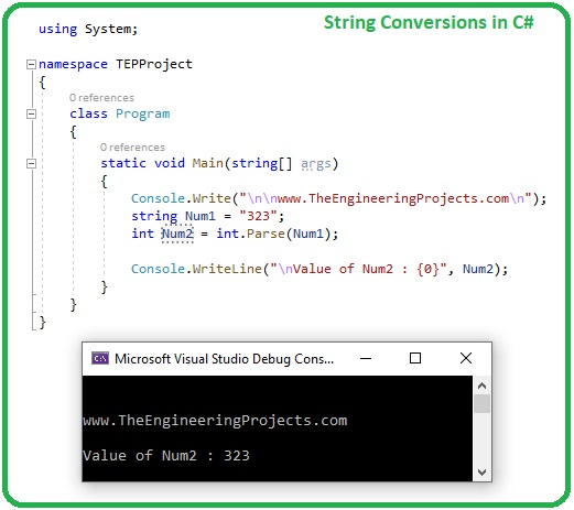Datatype Conversions in C#, int to float in c#, float to int c#, string to int c#, C# string conversion
