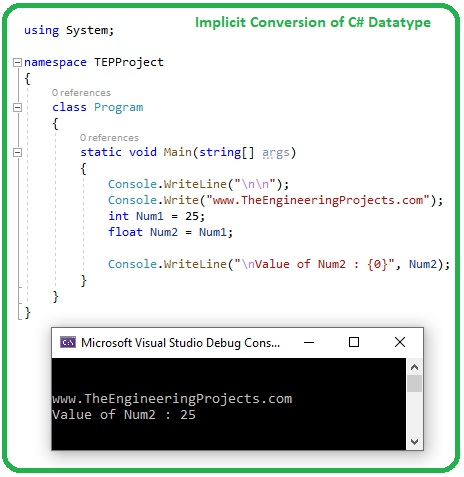 Datatype Conversions in C#, int to float in c#, float to int c#, string to int c#