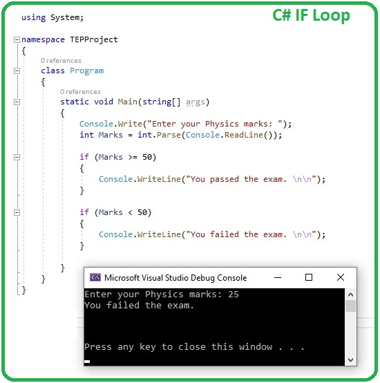 How to use IF Loop in C#, IF Loop in C#, if loop c#, c# if loop, if c#, C# if, c sharp if loop, if loop in c sharp
