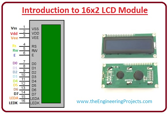 Registers of LCD, Features of 16×2 LCD Module, Command codes for 16×2 LCD Module, Pinout of 16×2 LCD Module, Introduction to 16×2 LCD Module
