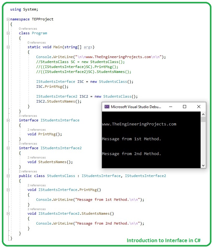 Introduction to Interface in C#, Interface in C#, Interface C#, C# Interface