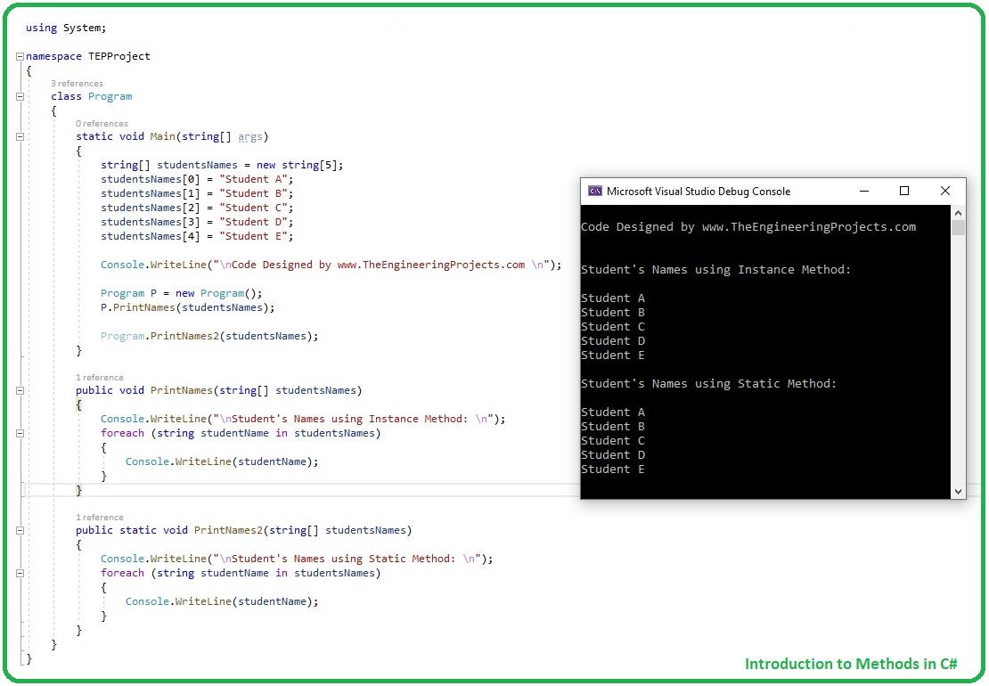 Introduction to Methods in C#, methods in c#, methods c#, c# methods, static methos in c#, instance method c#