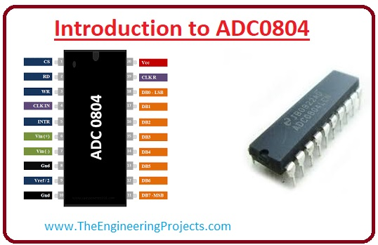 ADC0804, Applications of ADC0804, Working of ADC0804, Features of ADC0804, Pinout of ADC0804, Introduction to ADC0804
