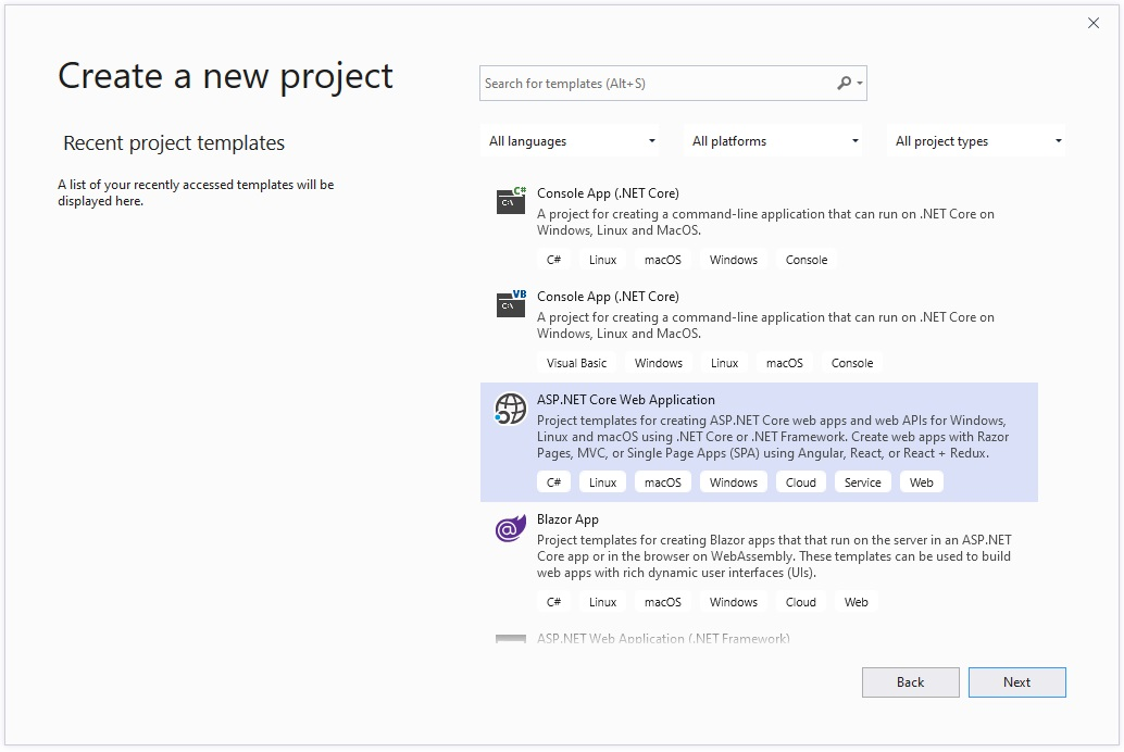 Create First Web Application in ASP.NET Core, Create First Web Application in ASP NET Core, first project in asp core, first project in .net, hello world in asp.net core