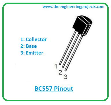 Introduction to BC557, bc557 pinout, bc557 power ratings, bc557 applications