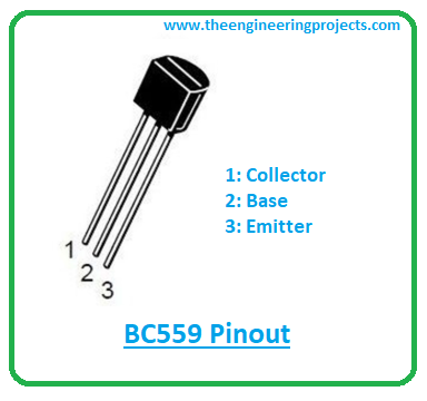 The following figure represents BC559 pinout.