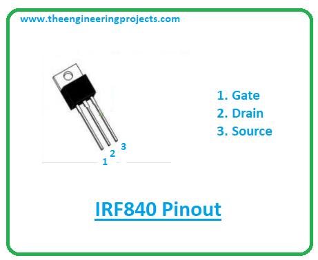 Introduction to irf840, irf840 pinout, irf840 power ratings, irf840 applications