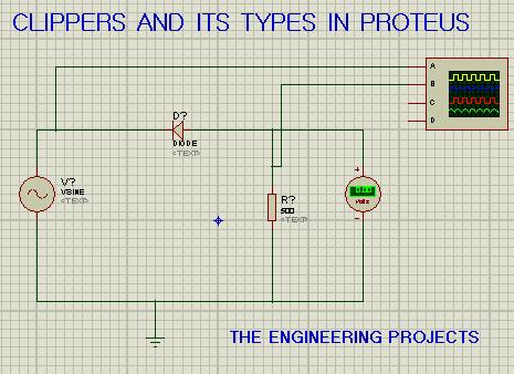 clippers, clippers series circuit. clippers series circuit in proteus, proteus circuit for series clippers.