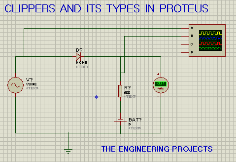series circuit for negative bias clipper in proteus, proteus circuit, circuit for series negative bias clippers, clippers in proteus