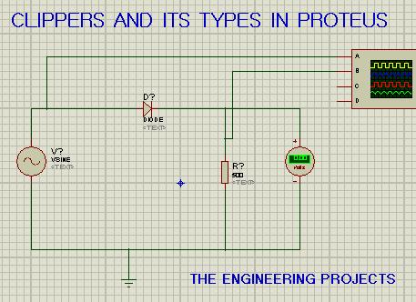 proteus circuit, negative series clippers, clippers in proteus, clippers and its types, circuit for series negative clippers in proteus