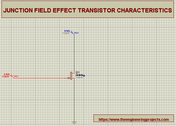 Junction Field Effect Transistor, transsitor characteristics, JFET and its characteristics in Proteus,Proteus implementation of JFET