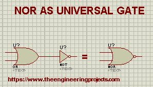 Logic Gates, NOR Gate, Universal Gate, NOR as universal Gate, Proteus and Gates, Implementation of NOR Gate in Proteus, Proteus Circuit Gates.