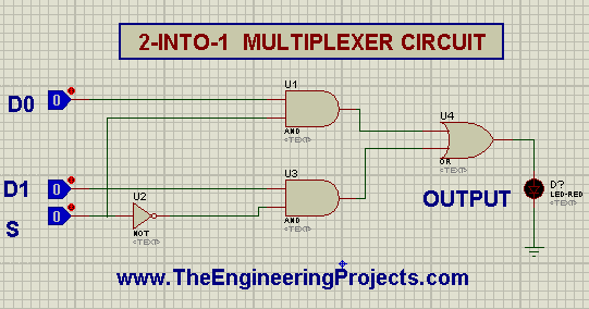 MUX, Multiplexer, 2 to 1 Multiplexer, 2 into 1 MUX in Proteus, Proteus implementation of mux.
