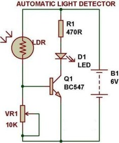 Automatic Light Detector, Light Detector with LDR, Proteus experiment for Automatic Light Detector, Automatic Light Detector with BC645 n-p-n transistor