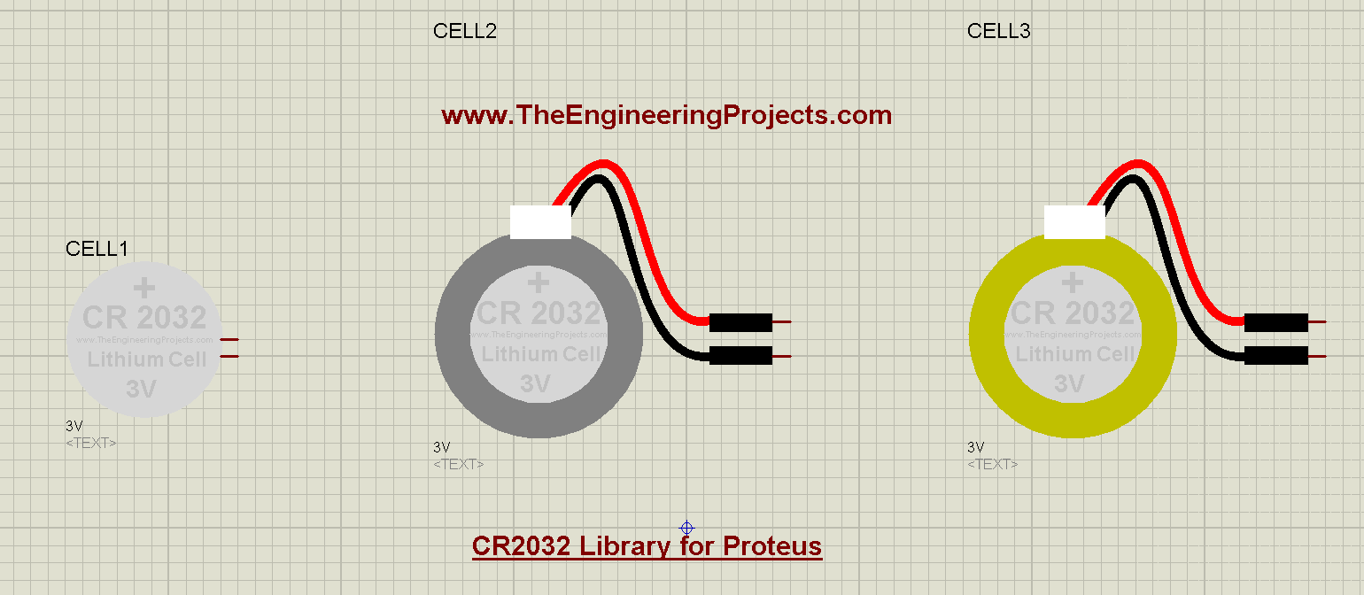 CR2032 Library for Proteus, CR2032 in proteus, CR2032 proteus, CR2032 proteus simulation, simulate CR2032