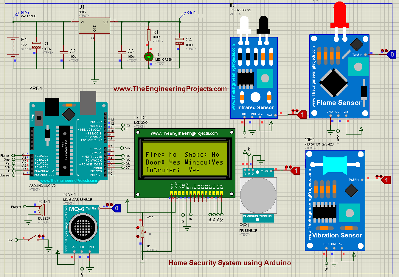 Home Security System using Arduino, Home Security System, Home Security System Arduino, arduino Home Security System, Home Security System simulation, Home Security System in proteus, Home Security Project, proteus simulation of home security project