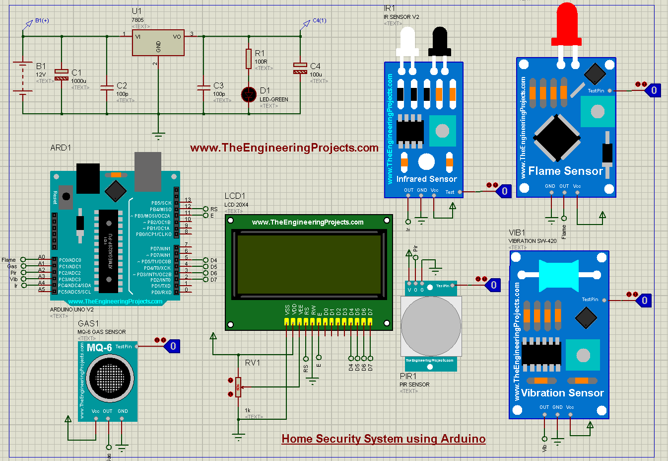 Home Security System using Arduino, Home Security System, Home Security System Arduino, arduino Home Security System, Home Security System simulation, Home Security System in proteus, Home Security Project