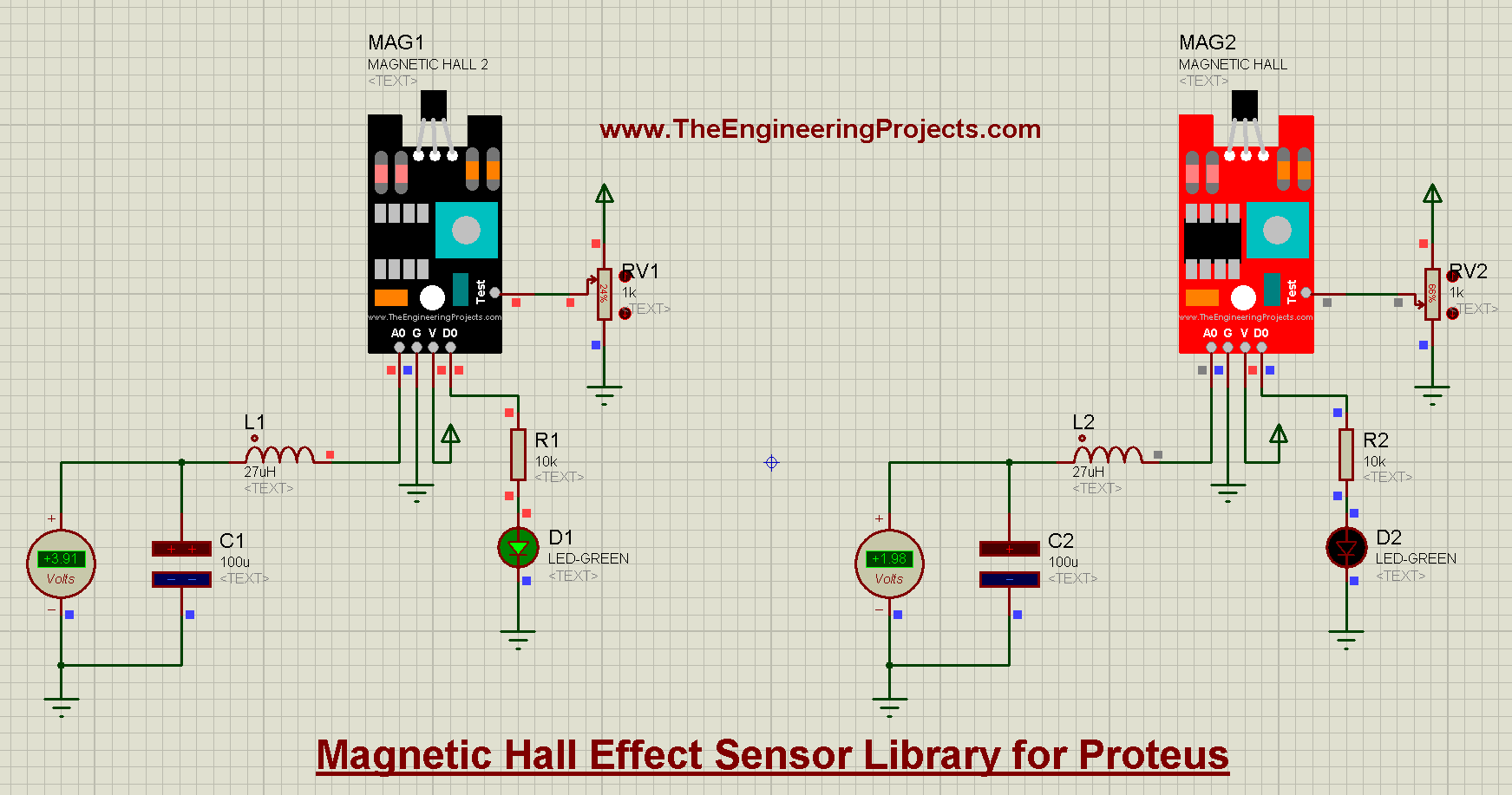 Magnetic Hall Effect Sensor Library for Proteus, magnetic hall effect sensor, Magnetic Hall Effect Sensor in Proteus, proteus simulation of hall effect, hall effect in proteus, hall effect sensor in proteus, ky024 in proteus, ky-024 proteus simulation