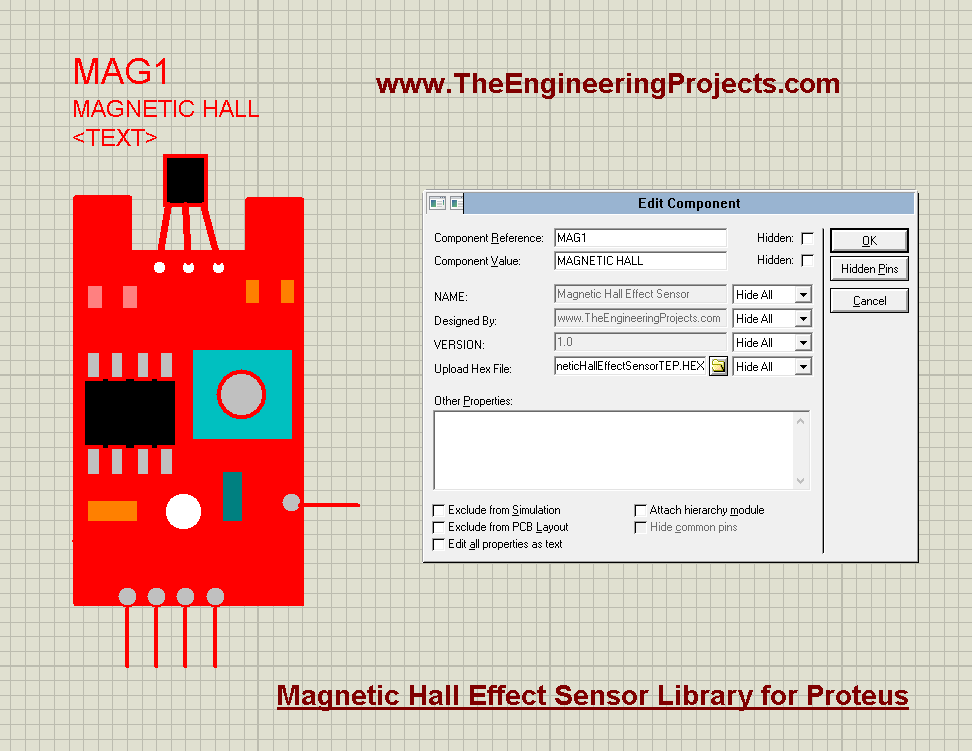 Magnetic Hall Effect Sensor Library for Proteus, magnetic hall effect sensor, Magnetic Hall Effect Sensor in Proteus, proteus simulation of hall effect, hall effect in proteus, hall effect sensor in proteus