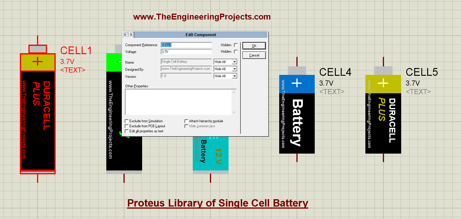 Proteus Library of Single Cell Battery, Single Cell Battery Library for Proteus, single cell in proteus, cell battery proteus, proteus cell battery, cell battery, single cell battery, single cell proteus simulation