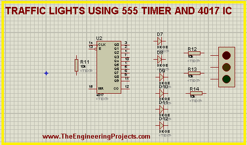 555 Timer project, traffic light with 555 timer, 555 timer and 4017 IC traffic lights, Traffic lights using ICs.