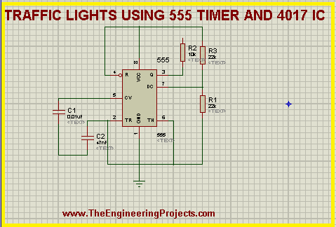 Traffic Light project, traffic lights with 555 timer, 555 timer project, traffic lights with 4017 and 555 timer
